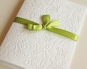 Fruity White Embossed Greeting Cards - Note Card Set of 5 - A2 Size