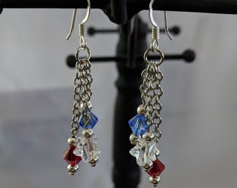Silver Chain Dangle Crystal Earrings - 4th of July - Patriotic