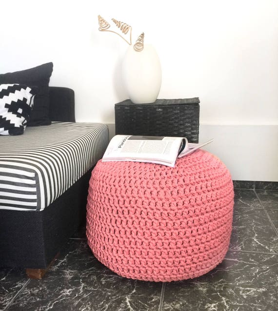 Coral Pink Pouf Baby Girl Nursery Footstool Round Knit