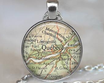 Quebec map necklace, Quebec necklace Quebec City map pendant Quebec City necklace Quebec, Canada map jewelry key chain key ring key fob