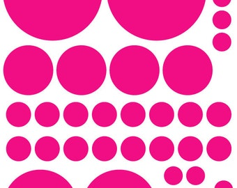 70 Hot Pink Vinyl Polka Dots Bedroom Wall Decals Stickers Teen Kids Baby Nursery Dorm Room Removable Custom Made Easy to Install