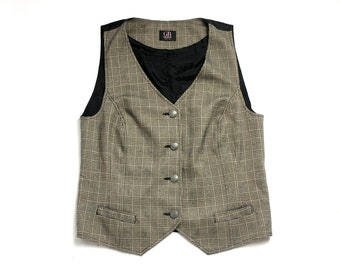 Vintage 90's Formal Brown Checked Fitted Vest Waistcoat Single Breasted Small to Medium