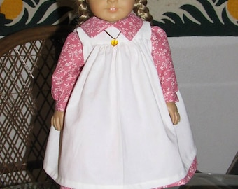1800s 2 Pc Little House Prairie Pioneer Outfit - Dress and Pinafore Apron for American Girl Kirsten 18 inch doll