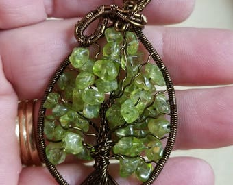 Tree of Life with Peridot gemstone chips.