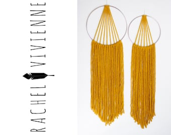 Silver & Mustard Colored Macrame Tapestry Dreamcatcher