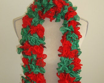 red and green hand knit ruffle scarf