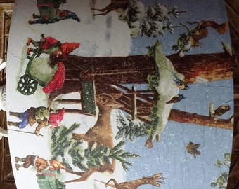 Shabby Chic Christmas Lampshade Santa's Elves Christmas lights Free Gift