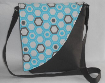 Crossbody Bag - Taupe Base with Blue & Taupe Hexagon Pattern Flap