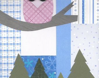 """Original Paper Collage - 9"""" x 12"""" - Winter Wonderland #7"""