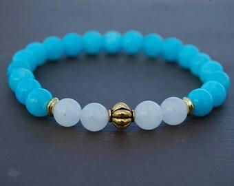 Aquamarine Bracelet,Gemstone 8mm Beads,Blue Bracelet,Meditation Bracelet,Aquamarine Stone Bracelet,Mala Bracelet,Man,Woman,Gift,Freedom