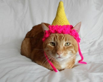 Hat for Cats, Cat Clothes, Cat Birthday Hat, Cat Party Hat, Crochet Bright Cat Hat, Gift for Cat, Cat Lover, Cat Gift, Cat accessory.