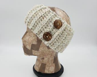 Crochet Headband, Ear Warmer, Headband With Buttons, Winter Accessory, Crochet Hair Band, Gift For Women, Winter Headband, Head Warmer