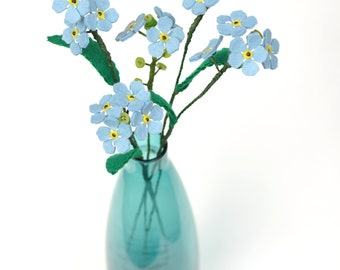 Custom order for Paula /  set of three forget me not stems / felt flowers