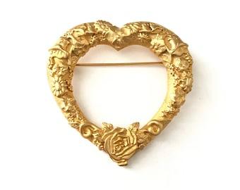 Large Vintage JJ Signed Gold Plated Repousse Heart Brooch