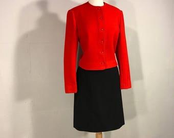 PendPendelton Red Blazer, Nehru Pendelton Jacket, Red Wool Jacket, Virgin Wool Red Blazer, 80s Blazer