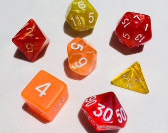 Polyhedral Dice Set - Fire Burst - DnD Tabletop RPG