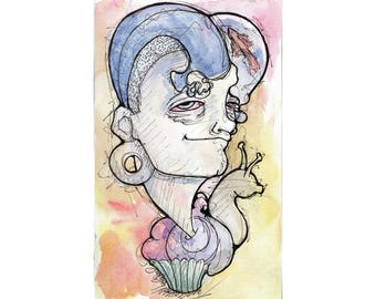 Original Watercolor Illustration - snail cupcake Art by Ela Steel - blue yellow pink strange lowbrow art