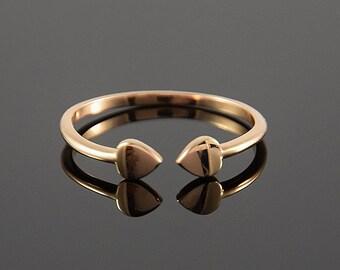 Midi ring, Stacking ring, Rose gold ring, Minimalist ring, Dainty ring, Stackable ring, Tiny ring gold, Delicate ring, Dual hearts ring
