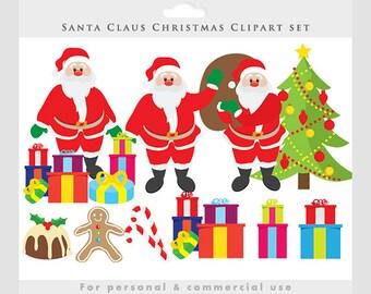 Santa clip art - Christmas clipart, Santa Claus, holiday, festive, pudding, gifts, presents, Christmas tree, gingerbread man, candy canes