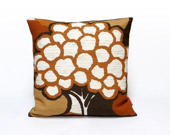 Throw Pillow, 70s Fabric Cushion Cover, Pillow Sham, Brown Accent Pillow, Mid Century Modern, Home Decor, Handmade by EllaOsix