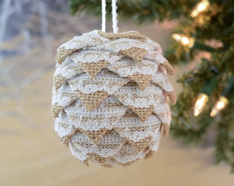 Shabby Chic Christmas Ornament Cottage Style Burlap and Lace Holiday Decoration Handmade Folded Ribbon Ball Gift for Antiquer or Thrifter