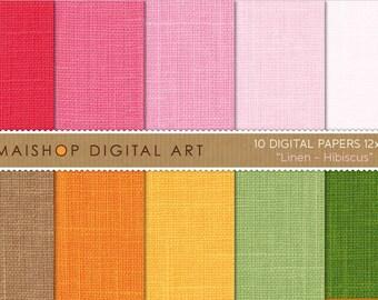 Digital Paper Linen 'Hibiscus' Pink, Brown, Orange, Yellow, Green... Textured Scrapbooking Papers for Card Making, Scrapbook, Crafts...