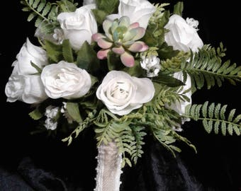 Succulent 10 inch bridal or bridesmaid silk bouquet, Your choice of rose color, 14 inch option also available