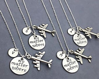 SET OF 4 Personalized Friend Distance Necklaces Distance Jewelry, Personalized necklace set of 4, Friendship Distance, Keepsake, BFF jewelry