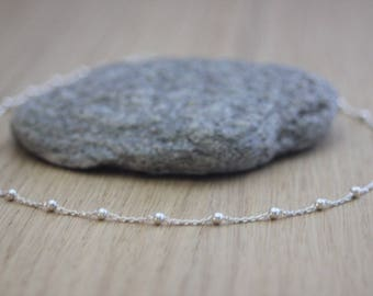 Minimalist choker necklace in sterling silver chain with beads - silver necklace - silver choker - fine choker -  pearl chain necklace