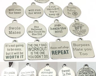 Motivational Charms, Fitness Charms, Gym Jewelry, Gift Ideas, Gifs for Her, Burpees, Workout, Quotes, I am stronger than my excuses, Inspire