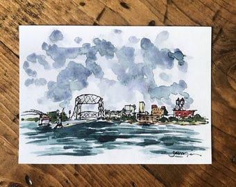 ORIGINAL ARTWORK - Watercolor PRINT - Watercolor Painting - Watercolor Decor - Wall Art - Urban Sketch - Minnesota Art - Wall Decor