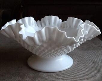 Vintage Fenton Hobnail Pattern Milk Glass Ruffled Top Large Fruit Bowl