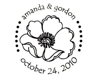 wedding save the date poppy flower custom rubber stamp