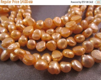 ON SALE 20% OFF Freshwater Peach Potato Pearl Beads 62pcs