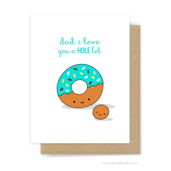 Happy Birthday Card For Dad Father Funny Donut Pun I Love You
