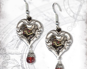 Two Hearts Steampunk Earrings - Za Dee Da - The Time Traveller Collection - A Time for Love
