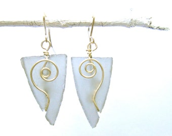 graphite colored seaglass-like arrowhead earrings