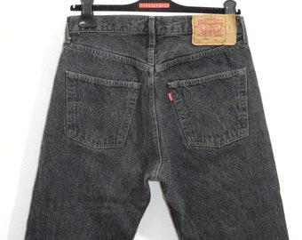 Levi's 501 33/32 90s Jeans Black Vintage Straight Raw Denim Levis