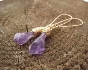 Raw Amethyst Dangle Earrings - Purple Amethyst Long Earrings - February Birthstone - Amethyst  Earrings - Purple Stone Earrings