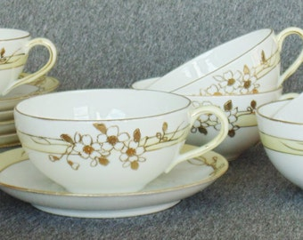 6 SETS Hand Painted Gold Embossed 6 Cups & 6 Saucers Dainty Daisies With Pale Yellow Accent Trim Nippon BEAUTIFUL CONDITION