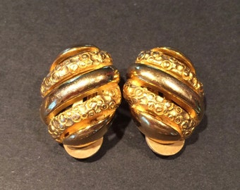 Vintage Givenchy Earrings Gold Tone Clip On Costume Jewelry