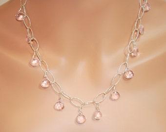 Morganite Quartz Faceted Briolette Sterling Silver Oval Chain Necklace