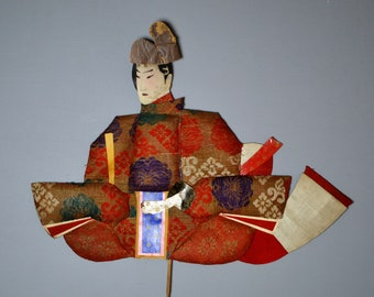 1800's Antique Oshie Japanese Silk Kimono Doll Seated Samurai Oshi-e Okiage Ningyo 8