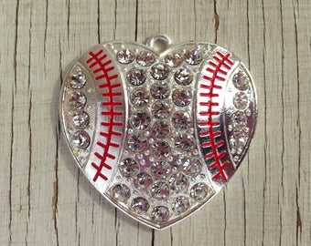 45mm Baseball heart red and silver rhinestone pendant for chunky bubblegum necklace girl's jewelry wholesale supplies gumball necklace