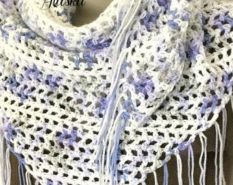 "Lavender-Blue-White Summertime Lace Fringed Boho Chic Shawl (50""L x 24"" Deep)"