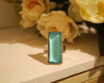 Rectangular ring,  green water ring, rectangular ring, cabochon ring, green water cabochon