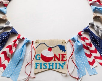 Gone Fishing Birthday HighChair Banner - Bass Fishing Theme - Boys 1st Birthday - Photo Prop - Backdrops Cake Smash - Boy Party Ideas