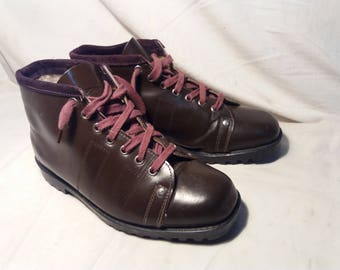 Vintage Brown Leather Bulgarian Hiking Boots - NEW