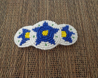 Vintage Beaded Southwest-Inspired Hair Barrette or Clip in Navy and White