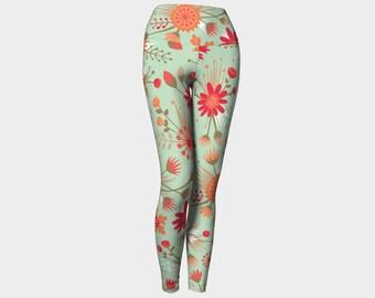 Poppy Flower Leggings, Yoga Leggings High Waist, Floral Yoga Leggings, Leggings, Green and Red Leggings, Printed Leggings, Women's Leggings